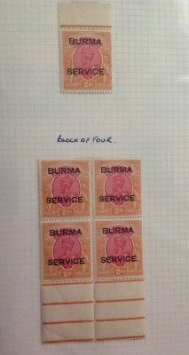 Burma 1937 Service Carmine/Orange 2r Block Of 4 & Single Overprint.
