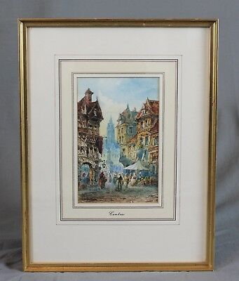J F Ritia 19th Century French Town Scene Cambrai Watercolour Painting 1885