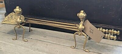 Vintage Brass Ball & Claw fire side Companion Tool Set Complete with Fire Dogs