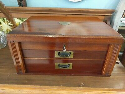 Vintage Large Wooden Varnished Cutlery Canteen Box with Pull Out Draws