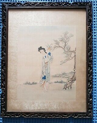 Chinese Painting c1900 - Beauty in a Landscape in original fretwork frame