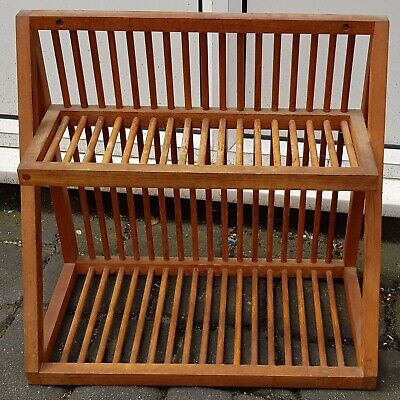 OLD VINTAGE RACKMASTER WOODEN PLATE RACK - ESSEX CM8 pine antique oak