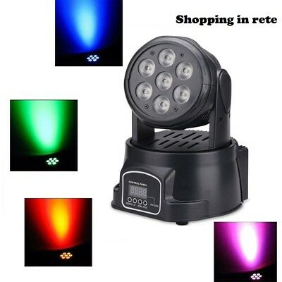 Proiettore Led Rgb Effetti Disco Discoteca 7 Led Wash Testa Mobile Rotante Sir