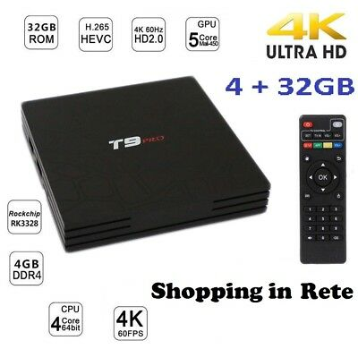 Smart TV BOX 4K IPTV GPU 5 CORE QUAD WIFI T9 PRO Android 7.1.2 4GB RAM 32GB  SIR