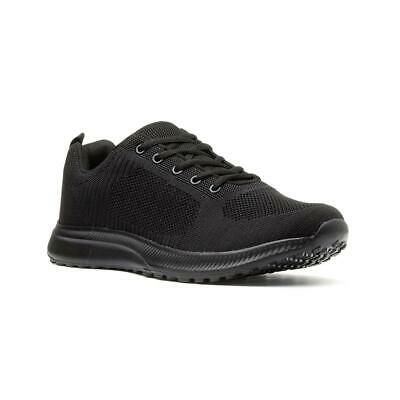 Mens Trainers Lace Up Mesh Trainers in Black by Podium