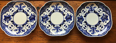 Set of 3 blue and white Edo period Japanese porcelain dishes with Chenghua mark