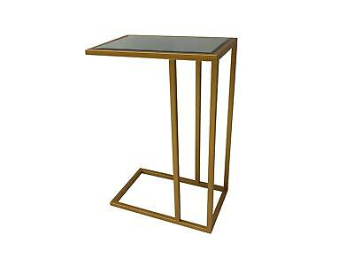 Mirrored Glass Side Sofa End Table Gold Metal Edging Furniture Interiors Home