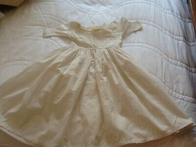 victorian white cotton babies dress, some staining on front.