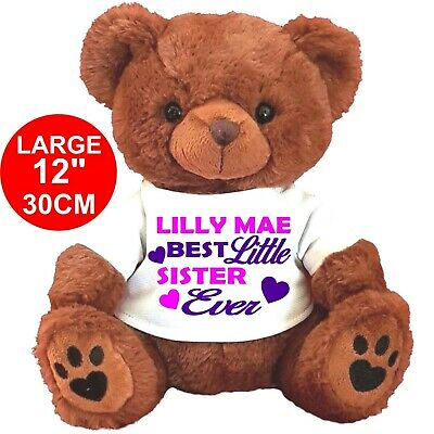 "PERSONALISED BROWN TEDDY BEAR 12"" 30cm - BIG LITTLE   SISTER  BROTHER"