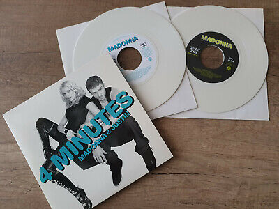 "Madonna & JUSTIN - 4 Minutes+Give It 2 Me 2x 7"" BLANC - USA -"
