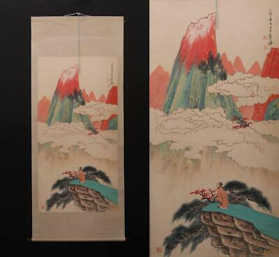 Fine Old Chinese Hand-painting Painting Scroll Zhang Daqian Marked-figure