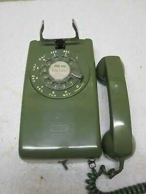 Vintage Bell System Western Electric GREEN 554 Wall Phone Rotary Needs Upgrading
