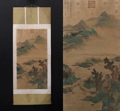 Antique Old Chinese Hand-painting Painting Scroll Wang Jian Marked-landscape