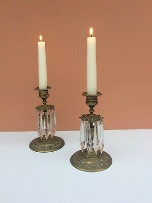 Pair Lustres Antique Victorian Candlestick Lustres Glass Lustres Circa 1860-1870