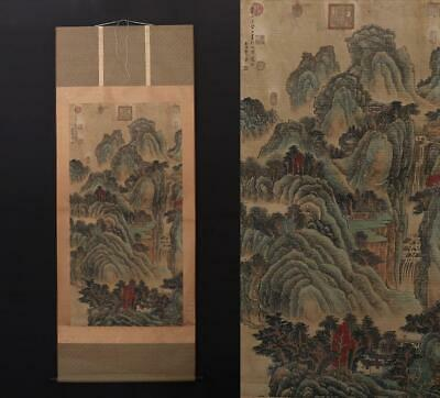 Antique Old Chinese Hand-painting Painting Scroll Wang Hui Marked-landscape