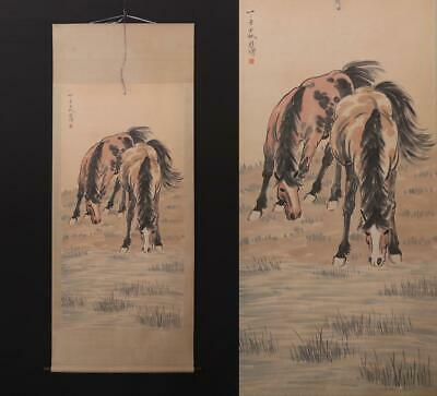 Fine Old Chinese Hand-painting Painting Scroll Xu Beihong Marked-horse