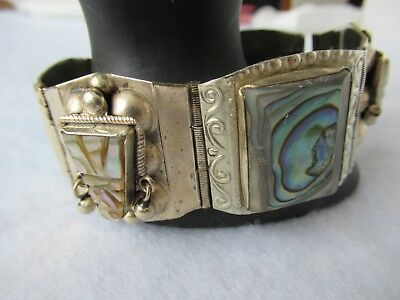 Vintage 1940, Mexico Taxco 925 Sterling Carved Abalone Shell Face Bracelet, 7in.