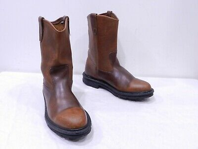 2e51ef5b209 USED WOLVERINE MENS 8.5 Brown Leather Pull On Cowboy Roper Work Boots  Durashock