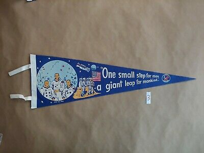 VINTAGE Apollo 11 First Moon Landing  FELT Pennant 1969 50th Anniversary NASA 3