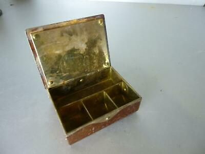 Small Box Antique a Compartments Stamps? Metal, Brass or Bronze Xixth 20th