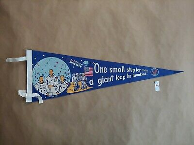 VINTAGE Apollo 11 First Moon Landing  FELT Pennant 1969 50th Anniversary NASA 4