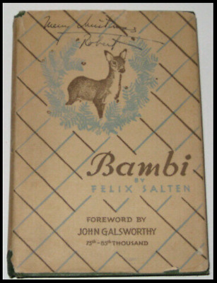 BAMBI,A LIFE IN THE WOODS! FIRST EDITION!1928 Disney Fairy Tale Dust Jacket RARE