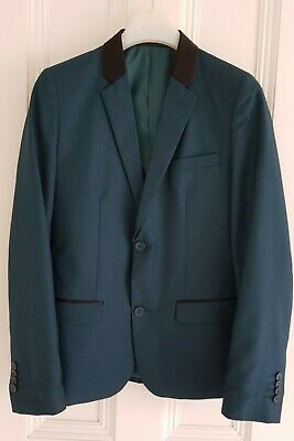 Bhs Flipback Boy's Teal Las Vegas Skinny Fit Jacket Age 12 Height 152Cm Worn Onc
