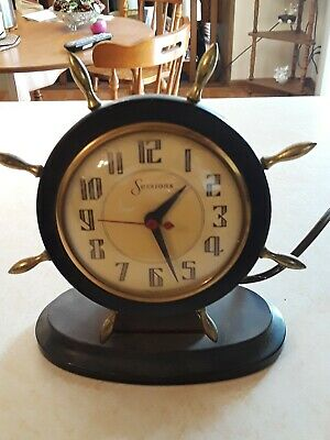 Vintage Nautical Sessions Electric Mantel Clock of Ships Steering Wheel Motif