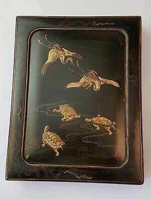 A lovely Meiji Period Black Lacquer Writing Box decorated with Cranes & Turtles.