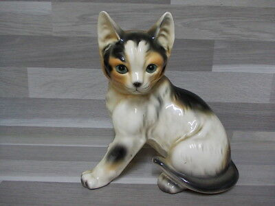 Vintage bank Money box glazed ceramic kitty cat coin bank