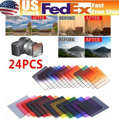 24pcs Square Full + Graduated Gradual Filters Set Color for Cokin P Series