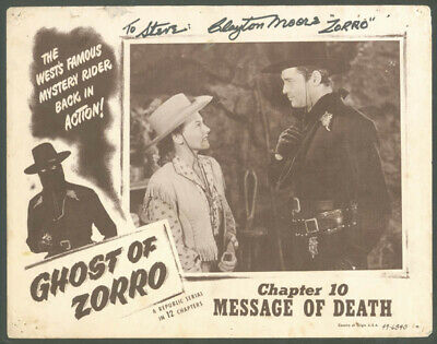 "Clayton ""The Lone Ranger"" Moore - Inscribed Lobby Card Signed"