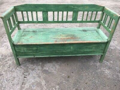 Painted Green Antique/Old Pine 3/4 Seater Box Settle/Bench