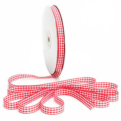 45m Full Reel Cut Lengths Gingham Ribbon Sewing Crafts, 6mm Wide Red L6U1