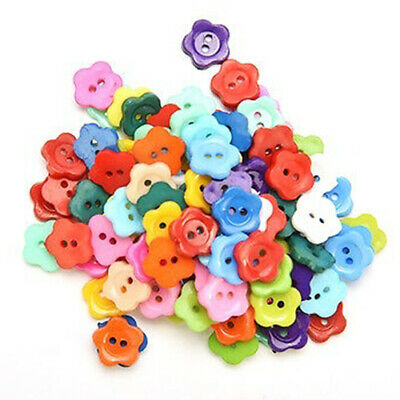 100 Pcs/lot Plastic Buttons Sewing DIY Craft decals for Children Plum flowe T1R9