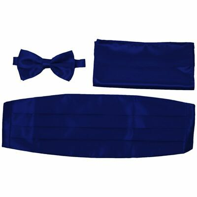 Satin Tuxedo Cummerbund+Bow Tie +Hanky Set Prom Wedding Deep BLUE V1Z5