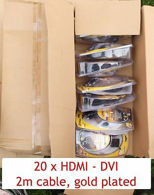 20 HDMI DVI 2m leads gold plated HDTV cables 1080 BRAND NEW
