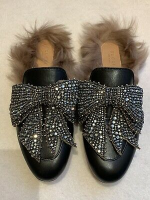 aeff19db2 Gucci Princetown Shearling Embellished Leather Slippers Crystal Bow EU39.5  UK6.5