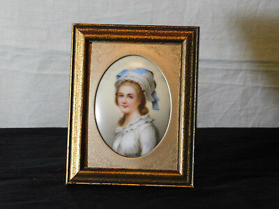 """KPM Style Made in Germany Hand Painted Porcelain Portrait """"Madame Elisabeth"""""""