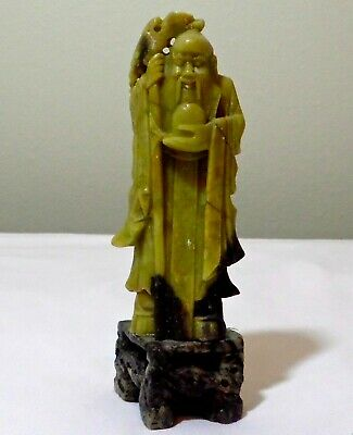 Vintage Chinese Nicely Carved Soapstone Figure Of A Wiseman
