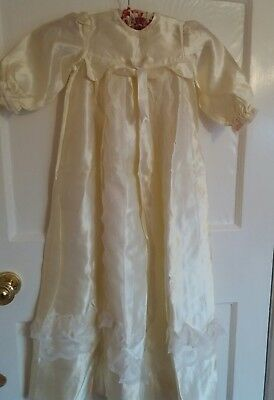 Unisex Handmade Unique Ivory Vintage Christening Gown - Age Approx 6 Mths