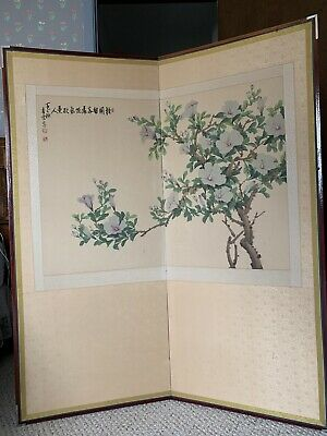 Vintage Korean Screen Room Divider Ink  Painting 2 Panel