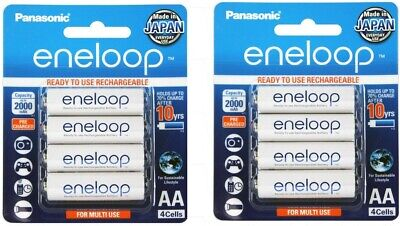 Panasonic Eneloop AA NiMH Rechargeable Batteries x 8 - MADE IN JAPAN