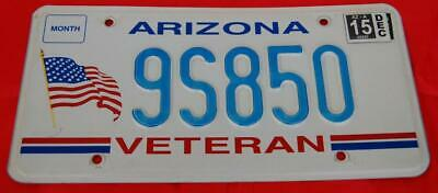 Arizona Veteran 2000's Embossed License Plate With US Flag Expired