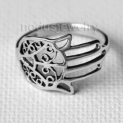 Hamsa ring, good luck ring, hand of fatima, 925 sterling silver