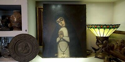 Unsigned 17-18th Century  Portrait Madonna Antique  European Paint