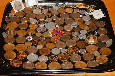 Junk Drawer Lot All Vintage Items Coins, Medals , Ribbons etc   #7890