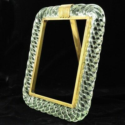 Antique Venini Murano Twisted Glass and Brass Frame