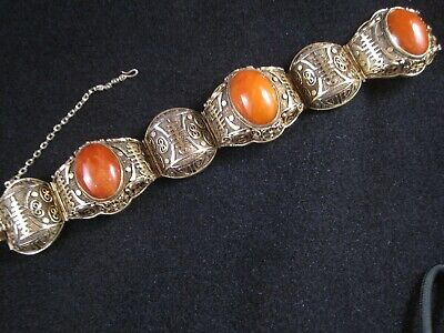 Chinese Export Vermeil Gold/Silver Filigree Bracelet with Jade Stones