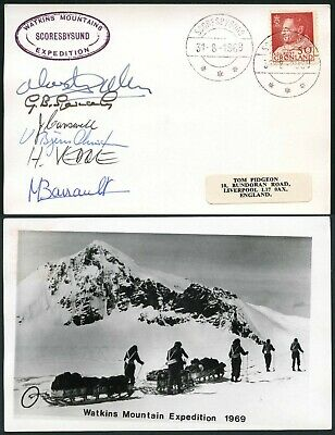 Arctic Polar Mountaineering 1969 Anglo Danish Watkins Expedition Multi Signed